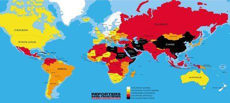 La mappa sulla libertà di stampa nel 2016 - Reporters sans Frontieres © Ansa