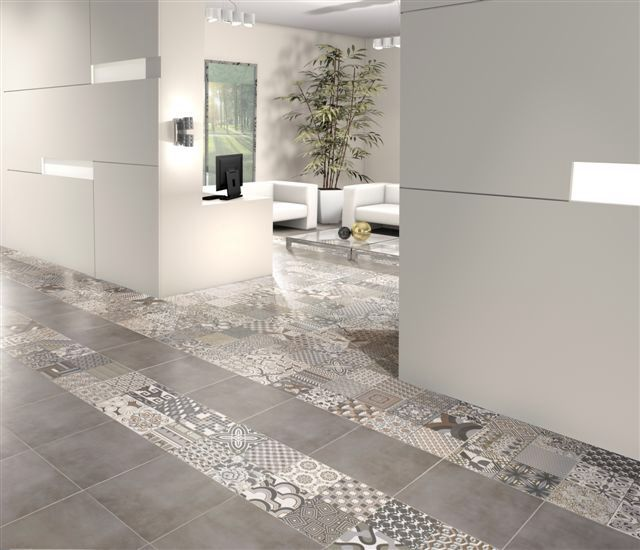 Patterned And Plain Neutral Floor Tiles
