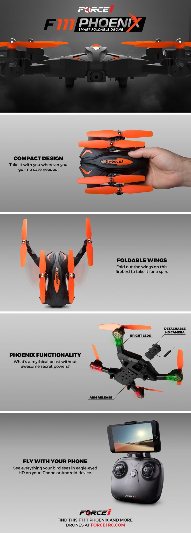 Check out the F111 Phoenix drone - a foldable FPV drone that you can take anywhere! Available at Force1RC.com. One of the best drones for beginners!