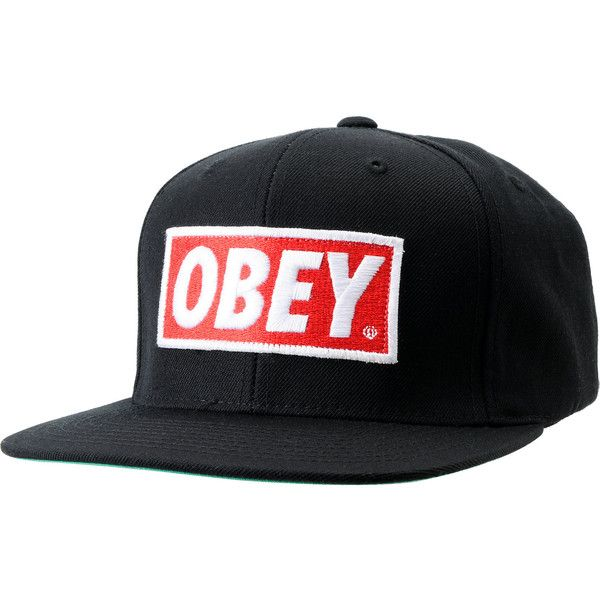 Obey Original Black Snapback Hat ($30) ❤ liked on Polyvore featuring accessories, hats, snapbacks, caps, casquettes, embroidered hats, snapback hats, embroidered snapbacks, cap hats and snapback cap