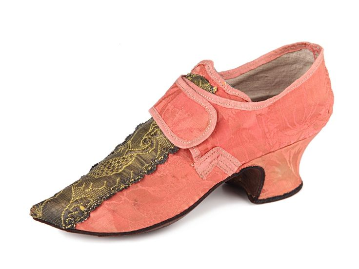 Shoe-Icons / Shoes / Salmon pink damask shoes with pointed toes and central braidwork decoration to vamps.