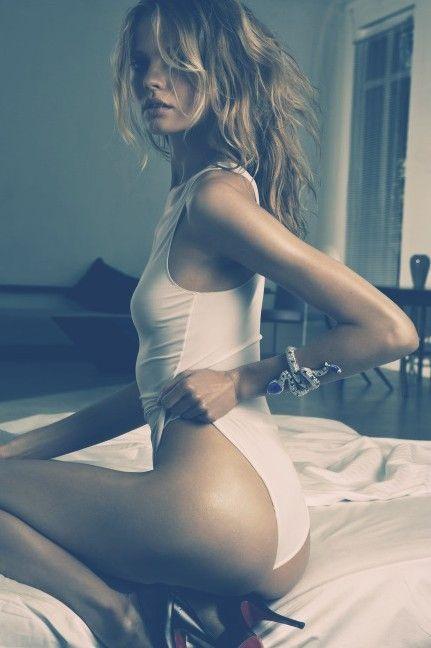 Magdalena – model magadalena frackowiak, white bodysuit, cyan
