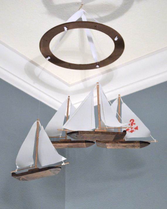 Sailboat Nursery Mobile Nautical Anchor Custom Wooden Fabric Appliqué Boat Modern Decor Baby Shower Gift Beach Theme Sailing Ocean Fish