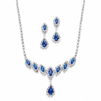 5 Sets Mariell Royal Blue Bridesmaid Jewelry - elegant and affordable! afordableelegancebridal.com. Looks a bit costumeee but I like the color