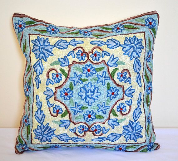 16 x 16 Fully handmade silk embroidery oriental cushion by SilkWay, $29.00