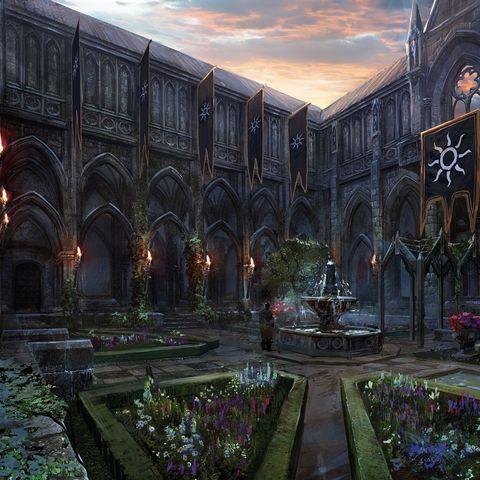 Royal Palace Vizima Fantasy Garden Art Royal Palace Vizima In 2020 Fantasielandschaft Fantasieschloss Palast
