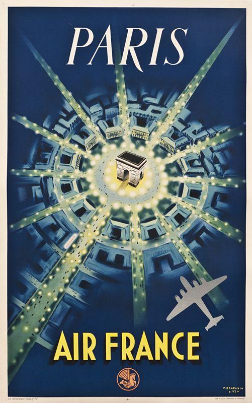 Paris, Air France, affiche de P. Baudouin, 1947.