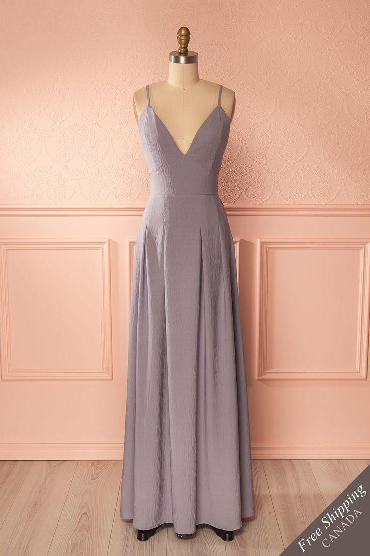 Purple open-back empire gown - Robe de soirée empire mauve à dos ouvert