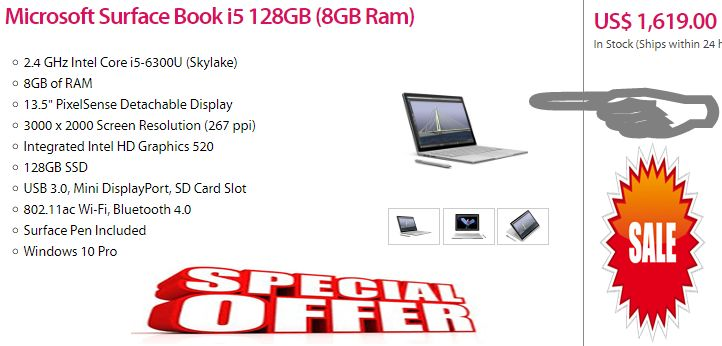 """#MySurfaceBookPin  Microsoft Surface Book i5 128GB (8GB Ram) ...   The Microsoft 13.5"""" Surface Book Multi-Touch 2-in-1 Notebook is a high-performance laptop/tablet hybrid with power and versatility. The Surface Book packs an Intel 6th gen (Skylake) dual-core processor into a magnesium casing with a silver finish. Use the tactile keyboard and touchpad to stay productive. #MySurfaceBookPin ... FOR ORDER ... Click above photo or visit button for Add to cart"""