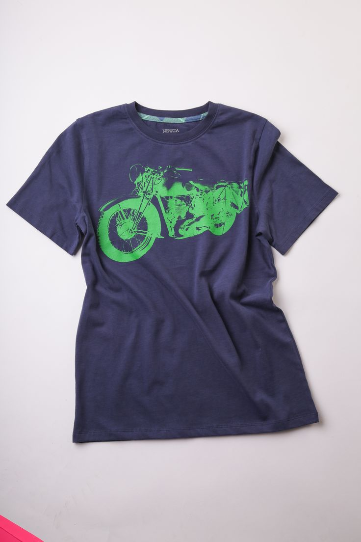 Nevada blue and green motorcycle print t-shirt, sold as a set with green and blue plaid button-up shirt (not pictured) $24.99, sizes 2 - 6x, $29.99, sizes 7-16 at Sears.