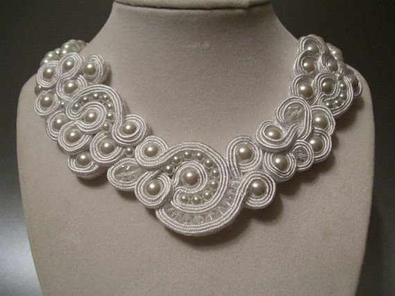 WOW. Why isn't this in a blue? Soutache White Pearl with Swarovski Crystals by BellaLucaDesigns, $97.00