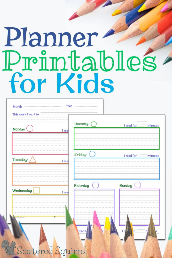 Planner Printables for Kids | Planners & Printables | Kids ...