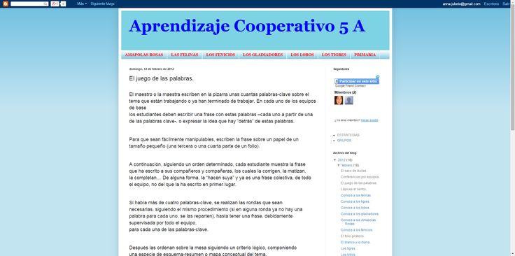 Aprendizaje Cooperativo: El juego de las palabras.