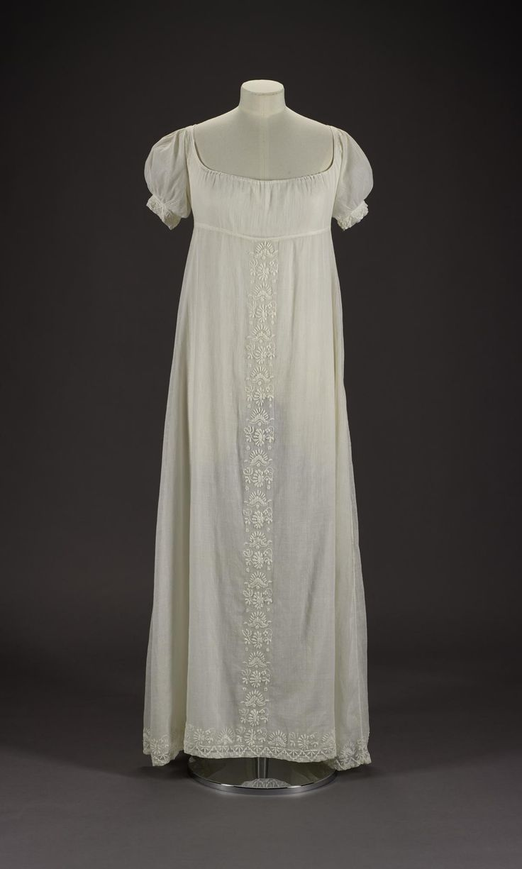 Woman's dress of fine white muslin embroidered down centre front of skirt, hem and sleeves in heavy white cotton thread with flowers: British, c. 1809