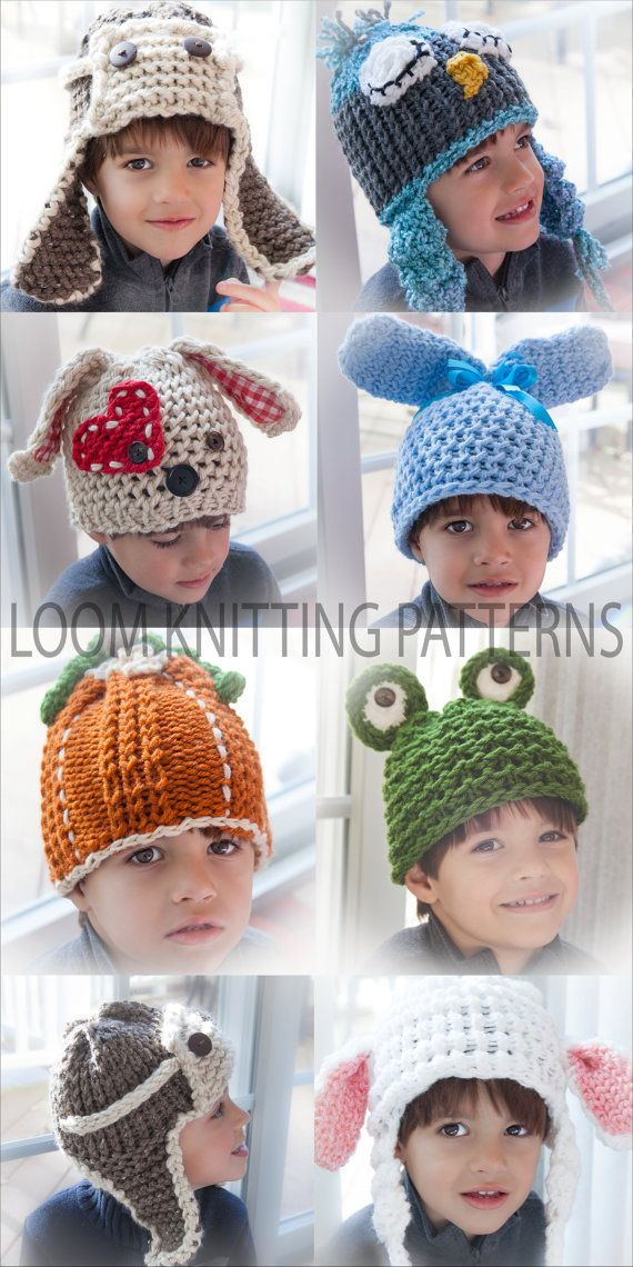 Loom Knit Character Hat Patterns! Loom Knit Bunny Hat, Frog Hat, Lamb Hat, Owl Hat, Aviator Hat, Pumpkin Hat, Baby Chick Hat, Etc. 9 Patterns!!