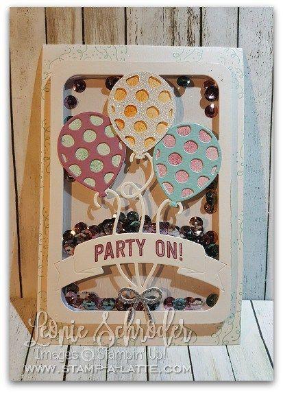 Fun Shaker for Birthdays with Balloon Adventures Stamp Set and Balloon PopUp Thinlits in Occasions 2017 #sneakpeek #occasions2017 #stampinup #balloon #birthday #handmade #saleabrationiscoming #stampalatte #leonieschroder #shakercard #technique