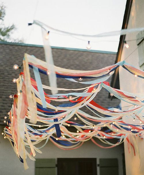 Summer streamers! #celebrateeverydayCrepes Paper, Ribbons, String Lights, 4Th Of July, Outdoor Parties, Parties Ideas, Crepe Paper, Streamers, Parties Decor