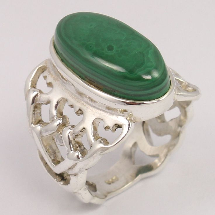 Pure 925 Sterling Silver Men's Fashion Ring Size UK O1/2 Natural MALACHITE Gems #Unbranded
