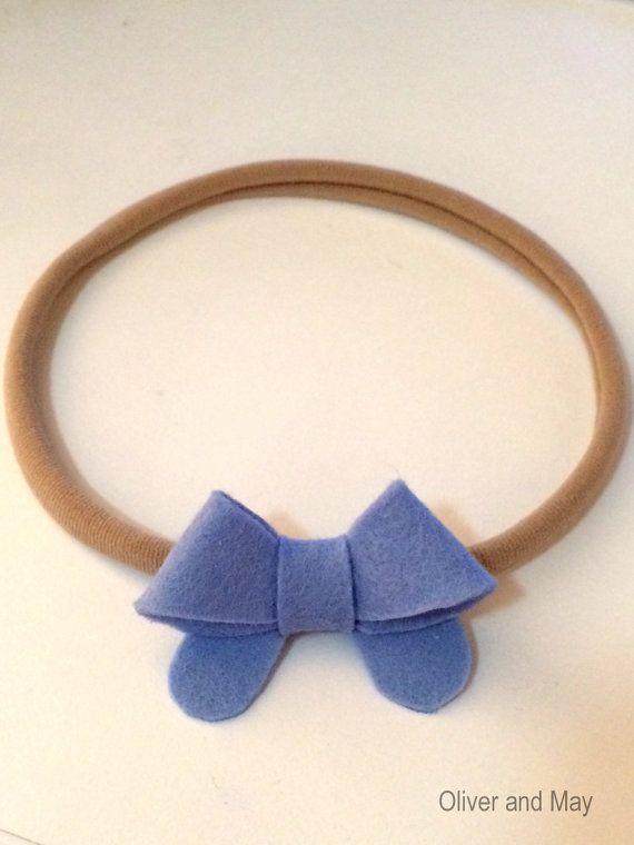 Wool Felt Bow Nylon Elastic Headband by OliverAndMay on Etsy