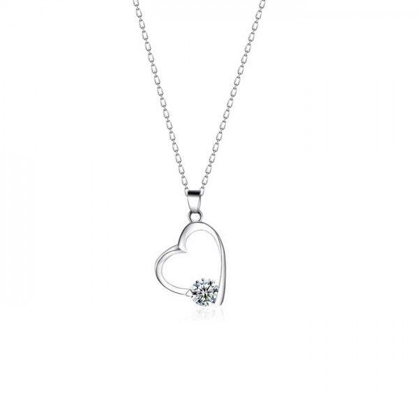 Kalp temalı, zirkon taşlı gümüş kolye | bk027