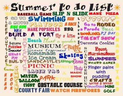 Summer bucket list ideas @Allison j.d.m j.d.m Johnson