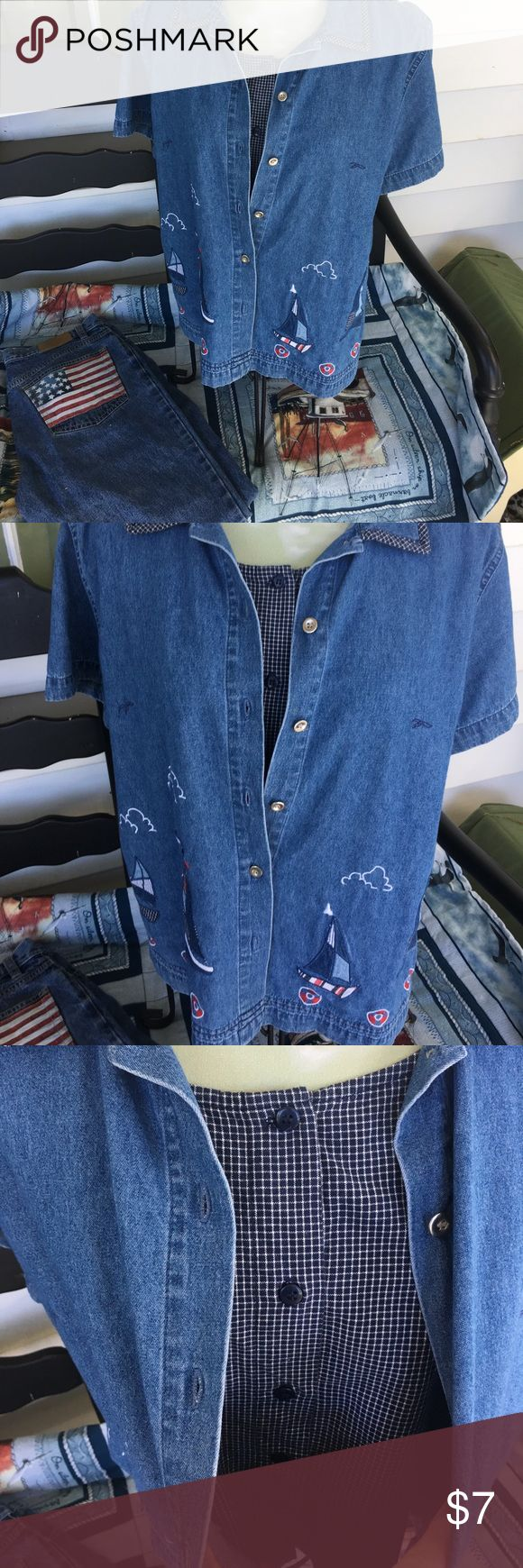 2 pc. Denim set Cute nautical theme Denim with attached cami. Sail boats and life preserve details. Cami is blue and checked . Super cute to pair with denim jeans or go all out with white Capri's and add red KEDS & Red jewels. lemon grass Tops Button Down Shirts