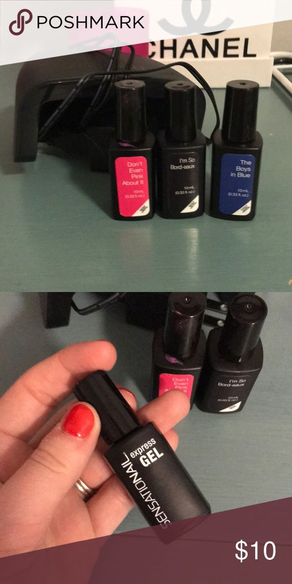 Gel nail polish set and light By the brand Sensational, 3 gel nail polishes (pink, blue and dark purple) only the pink has been used. And a LED dryer light. Originally $30 Sensational Makeup