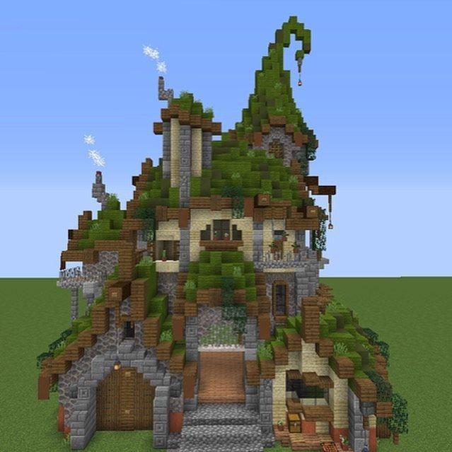 """minecraftbuildersbuilds posted on their Instagram profile: """"Medieval fantasy house corner street buildin in 2020 Minecraft castle Minecraft designs Amazing minecraft"""