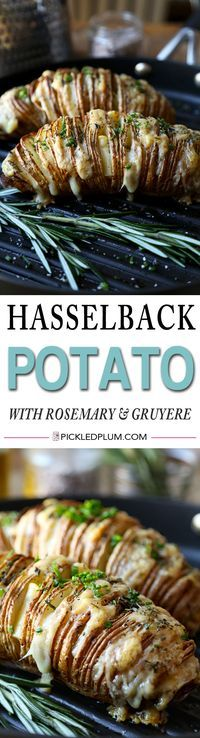 Hasselback potato (sliced baked potato) with rosemary and gruyere cheese - easy recipe and so comforting! http://www.pickledplum.com/sliced-baked-potato-recipe/