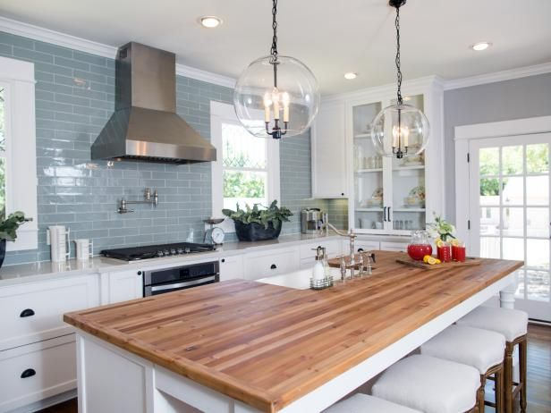 Tile up the wall and light pendants ***Spacious Kitchen With Custom Island