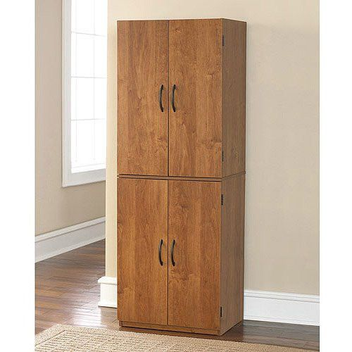Tall Storage Cabinet With 4 Doors And Two Adjustable