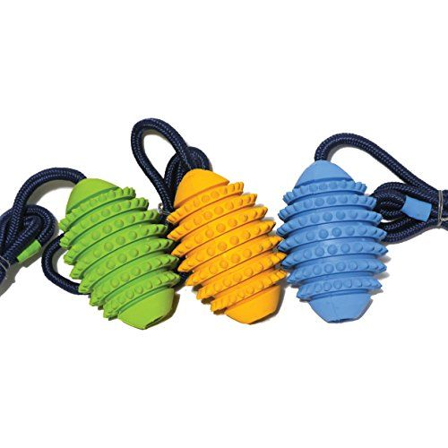 buy now £10.18 This Cyber Dog Rubber Rugby Ball with its rope makes an excellent fetch toy. Easy to throw using the rope handle it helps promote dental helath when ...Read More