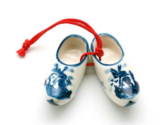 Porcelain Dutch Delft Blue Windmill Miniature Shoes by OldSecrets