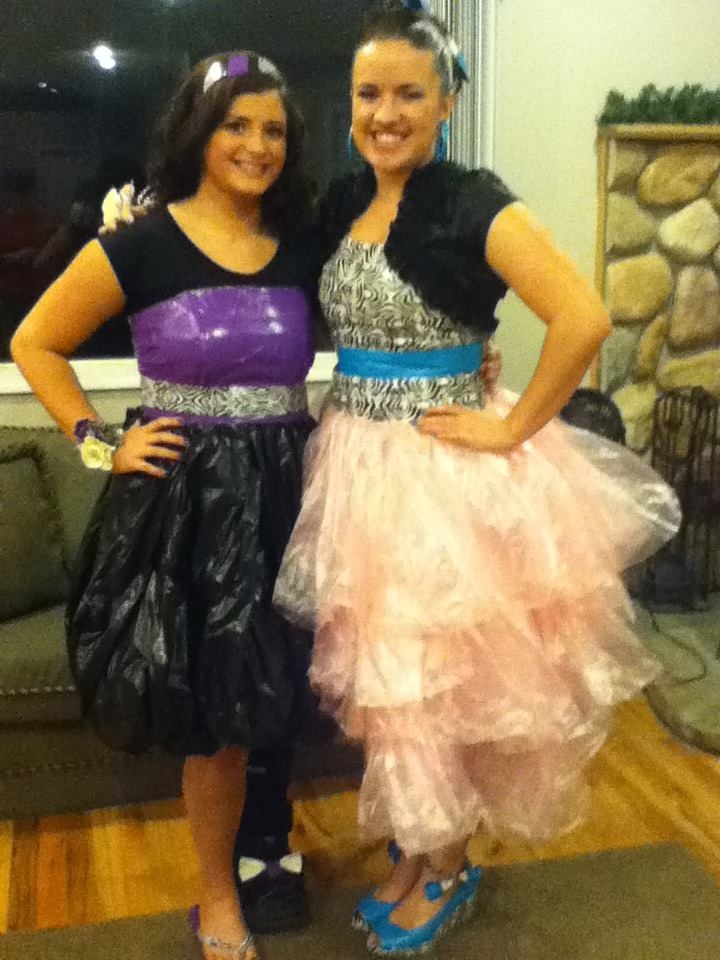 Such a fun school dance idea! Duct tape/garbage bag dresses! Just use an old dress from another dance and tape over! So fun. we also made boutineeres, corsages, and ties for our dates! (:
