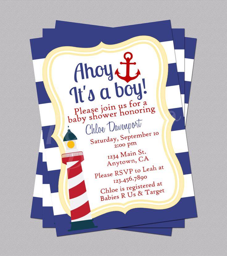 Nautical Baby Shower Invites, Anchor Invitations, Lighthouse Invite, Sailor Baby Shower, Ocean Baby Shower, Boy Baby Shower Invites, Digital by PeekabooPenguin on Etsy
