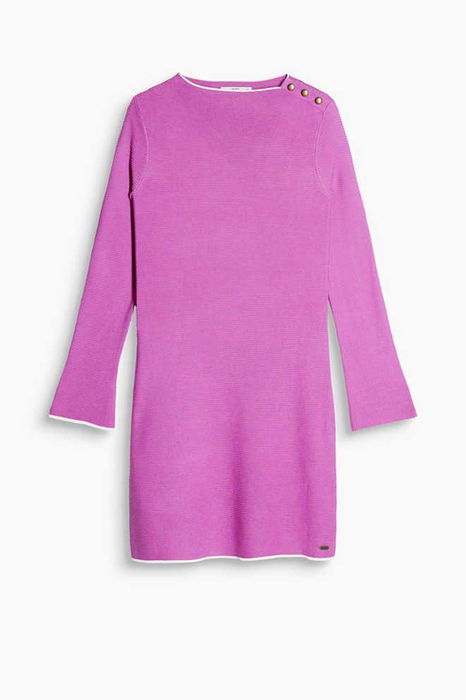 EDC Esprit Jurk van compact ribbreisel knit dress violet roze paars