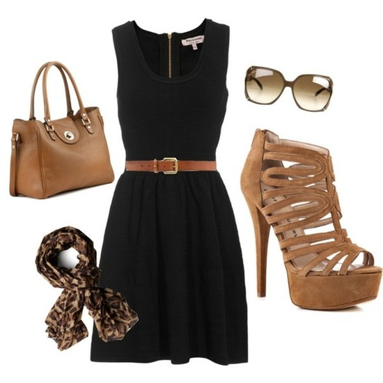 Casual black dress with brown accessories.