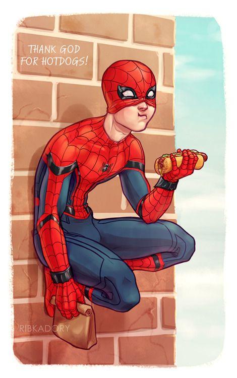 Я не могу перестать есть во время рисования хD я думаю, что тетя Мэй не очень хорошо готовит (как кажется из Капитан Америка: Гражданская война) и Питер всегда будут покупать нездоровую пищу вместо того, чтобы съесть его обед. Кажется, это была вечность, так как я...
