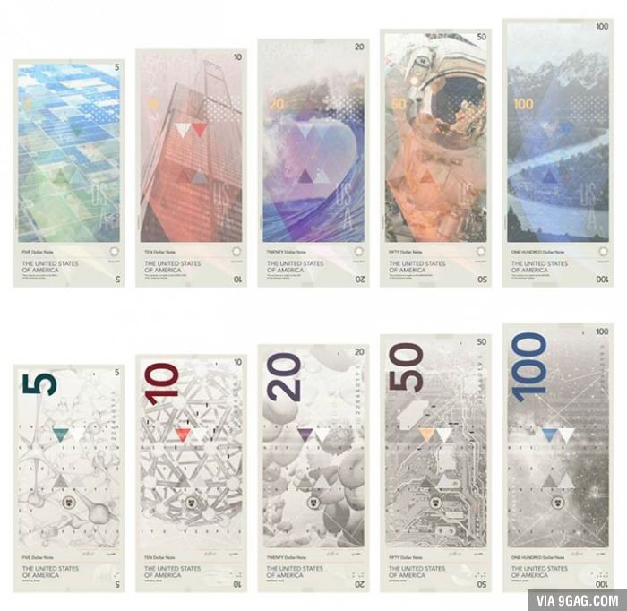 US dollar notes redesigned to honor science, rather than presidents.