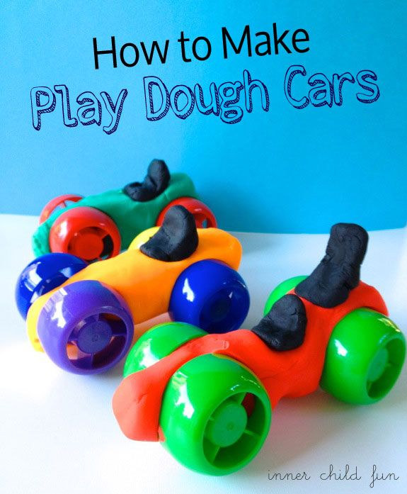 {Play Dough Cars} You know those colorful caps that twist off of apple sauce or baby food pouches?? So cute!