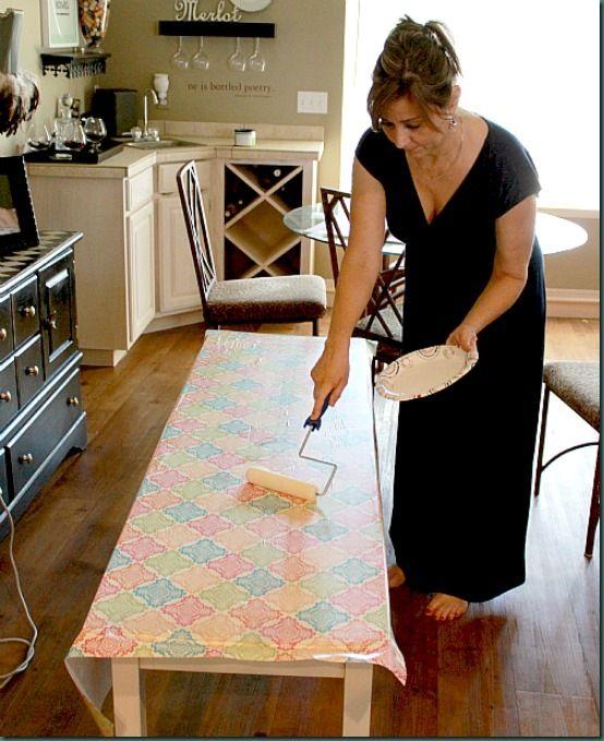 Modpodge Fabric On Kitchen Table