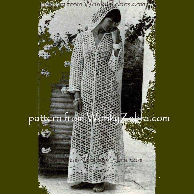 a vintage seventies crochet pattern to crochet a stunning long hooded robe. The design is long and flared, front buttoned, with full sleeves. It is made in a mesh lace similar to filet crochet, with huge daffodil flower shapes around the hem  pattern PDF391