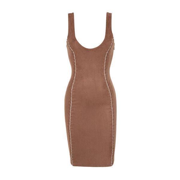 'Alanis' Copper Vegan Suede Sleeveless Dress via Polyvore featuring dresses, scoop neck bodycon dress, sleeveless bodycon dress, copper dress, brown suede dress and sleeveless dress