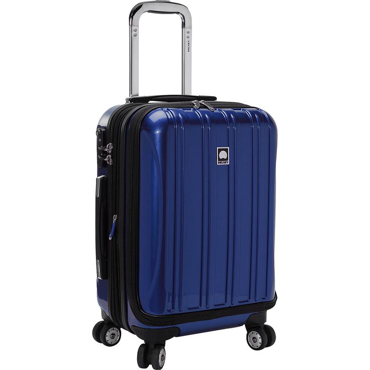 Travel to your favorite destination with this Delsey spinner suitcase. It has 2 large compartments, a zippered divider, and multiple organization and mesh pockets to carry your clothes, books, tickets, and essentials neatly. This carry on spinner also sports a built-in padded laptop sleeve to hold a laptop up to 15.6 inches. Use the web straps to keep your clothes in place and prevent creasing. A part of the Helium Aero series, this expandable spinner makes a dependable international…