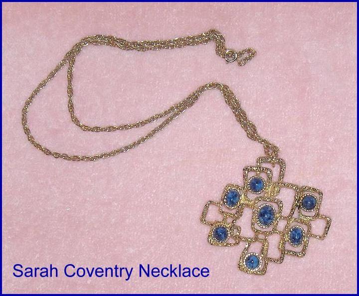 Sarah Coventry Vintage Necklace Pendant Blue Stones Canada by EttasEmporium on Etsy