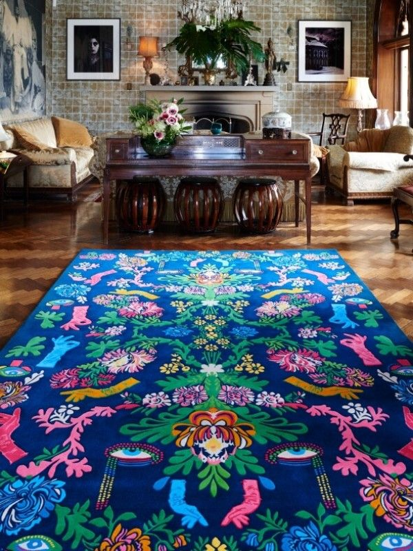 "Designer Rugs-Powder Room -based on this outlandish and extravagant collection. ""It has a retro 1970s vibe, but also a baroque vibe, and looks quite traditional until you study it closely.""   100% New Zealand Wool 