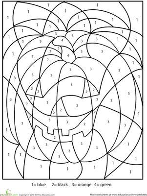 Halloween Kindergarten First Grade Color by Number Worksheets: Halloween Color-by-Number