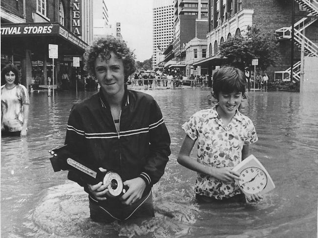 Flooded street in the Brisbane City Centre, 1974