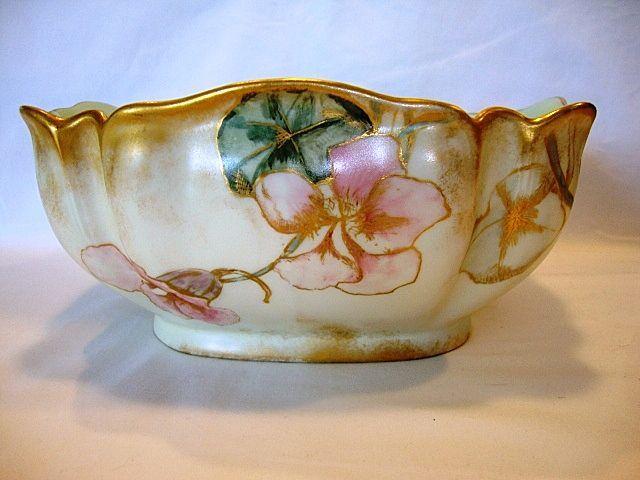 BWL182: Fantastic Limoges Porcelain Master Salad Bowl ~ Diana Mold ~ Hand Painted with Pink Nasturtiums ~ Haviland Co Limoges France 1876-18...