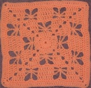 12 inch crochet square pattern: Butterfly Garden Square